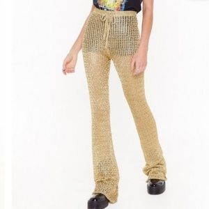 Gold High-Waisted Flared Pants